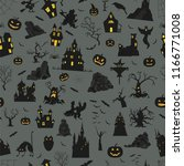 halloween holiday seamless...   Shutterstock .eps vector #1166771008