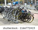 Parking Lot With Bicycles In...