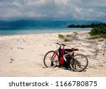 mountain bike on sandy tropical ...   Shutterstock . vector #1166780875