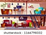 loft lounge room interior... | Shutterstock .eps vector #1166798332