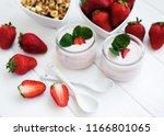 healthy breakfast  yogurt ... | Shutterstock . vector #1166801065