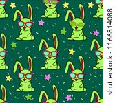 Stock vector cute kids rabbit pattern for girls and boys colorful rabbit stars with glasses on the abstract 1166814088