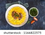 osso bucco and risotto milanese | Shutterstock . vector #1166822575