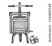 apple cider juice press... | Shutterstock .eps vector #1166830168