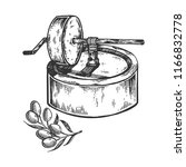 ancient olive oil press...   Shutterstock . vector #1166832778