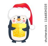 cute penguin with gift. penguin ... | Shutterstock .eps vector #1166834335