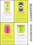 preserved food in marinade... | Shutterstock .eps vector #1166840938