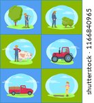 farmer working on farm with... | Shutterstock .eps vector #1166840965