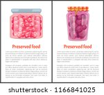preserved food posters set with ... | Shutterstock .eps vector #1166841025