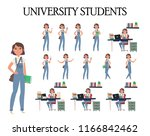 vector set of students with... | Shutterstock .eps vector #1166842462