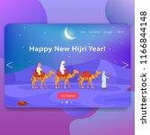 happy new hijri year  landing... | Shutterstock .eps vector #1166844148