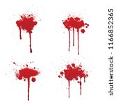 dripping blood or red paint set ... | Shutterstock .eps vector #1166852365