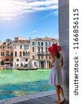 female traveller woman enjoys... | Shutterstock . vector #1166856115