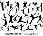 silhouettes jumping   Shutterstock .eps vector #11668567