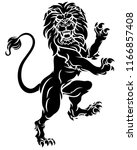 lion rampant standing on hind... | Shutterstock . vector #1166857408