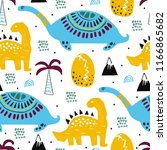 pattern with dino dinosaur.... | Shutterstock . vector #1166865682