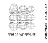 wireframe mesh cube make with... | Shutterstock . vector #1166873515
