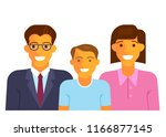 happy family smiling in flat... | Shutterstock .eps vector #1166877145