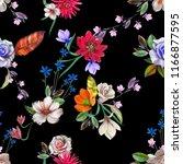 flower leaves seamless hand... | Shutterstock . vector #1166877595