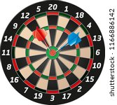 detailed vector Dartboard with blue and red dart