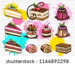 cakes vector set isolated.... | Shutterstock .eps vector #1166892298
