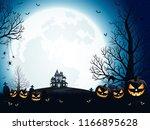 halloween pumpkins  spooky... | Shutterstock .eps vector #1166895628