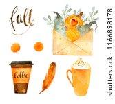 watercolor autumn nature... | Shutterstock . vector #1166898178