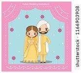 vector of cute indian wedding... | Shutterstock .eps vector #1166903908