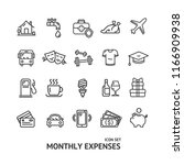 monthly expenses signs black... | Shutterstock .eps vector #1166909938