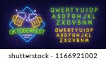 oktoberfest neon sign  bright... | Shutterstock .eps vector #1166921002