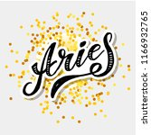 aries lettering calligraphy... | Shutterstock .eps vector #1166932765