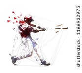 baseball player in red jersey... | Shutterstock .eps vector #1166932975