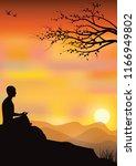 man meditating in sitting yoga... | Shutterstock .eps vector #1166949802