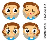 cute set of four young brown... | Shutterstock .eps vector #1166958115