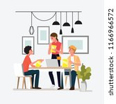 group people meeting doing...   Shutterstock .eps vector #1166966572