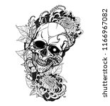 skull with chrysanthemum tattoo ... | Shutterstock .eps vector #1166967082