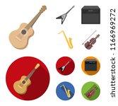 electric guitar  loudspeaker ... | Shutterstock .eps vector #1166969272
