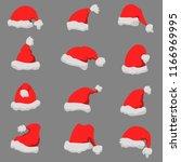 set of santa claus hats... | Shutterstock .eps vector #1166969995