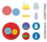 pincushion with pins  thimble ... | Shutterstock .eps vector #1166972062