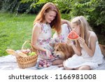 summer   happy family at a... | Shutterstock . vector #1166981008