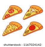 cartoon pizza slice... | Shutterstock .eps vector #1167024142
