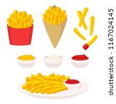 french fries vector... | Shutterstock .eps vector #1167024145