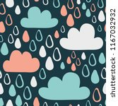 cute drops and clouds. seamless ... | Shutterstock .eps vector #1167032932