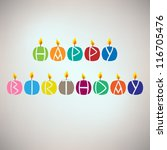happy birthday card with candles | Shutterstock .eps vector #116705476