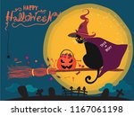 Stock vector happy halloween cute black cat with witch hat and cape riding on a witch broom over the moon and 1167061198