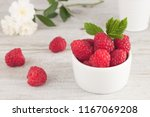 Raspberry In Bowl. Raspberry O...