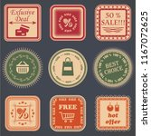 vintage sale labels collection. ... | Shutterstock . vector #1167072625