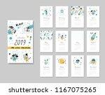 calendar 2019. templates with... | Shutterstock .eps vector #1167075265