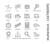 set of 16 simple line icons... | Shutterstock .eps vector #1167083092