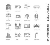 set of 16 simple line icons... | Shutterstock .eps vector #1167093682